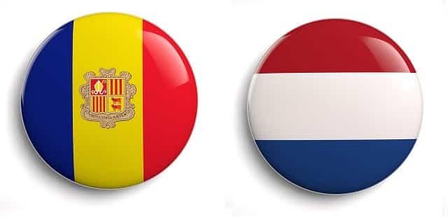 Andorra and Netherlands flag